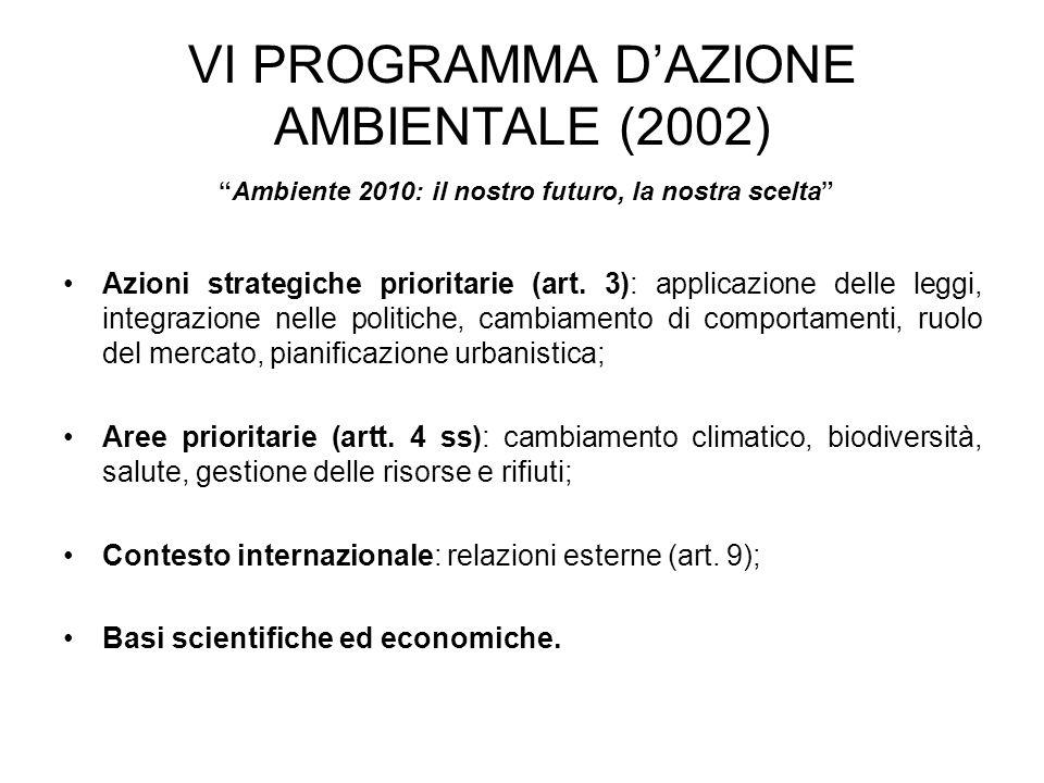 VI PROGRAMMA D'AZIONE AMBIENTALE (2002)