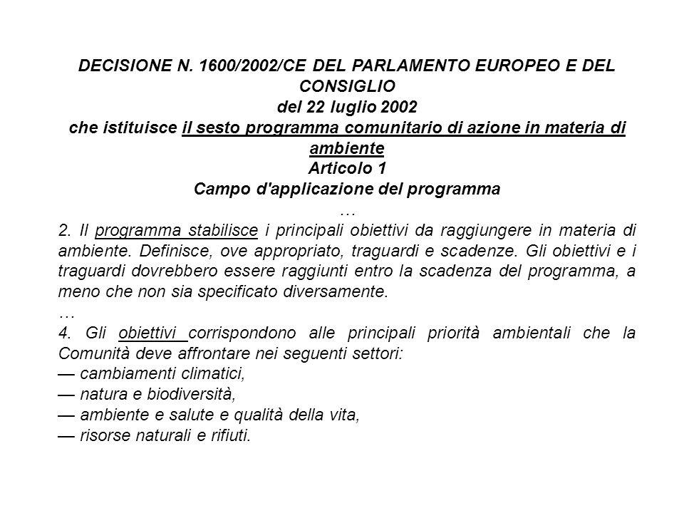 DECISIONE N. 1600/2002/CE DEL PARLAMENTO EUROPEO E DEL CONSIGLIO