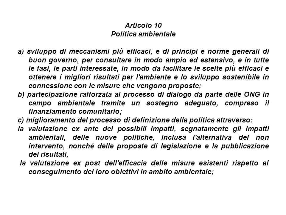 Articolo 10 Politica ambientale.