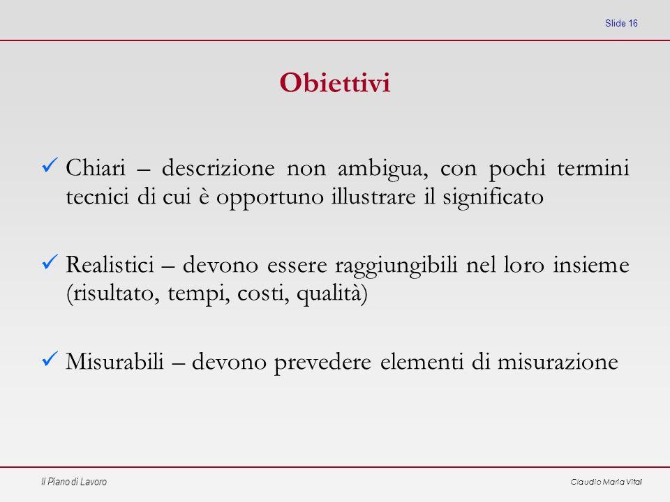 Obiettivi Chiari – descrizione non ambigua, con pochi termini tecnici di cui è opportuno illustrare il significato.