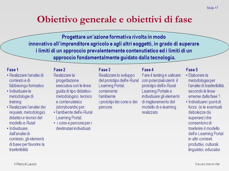 Obiettivo generale e obiettivi di fase