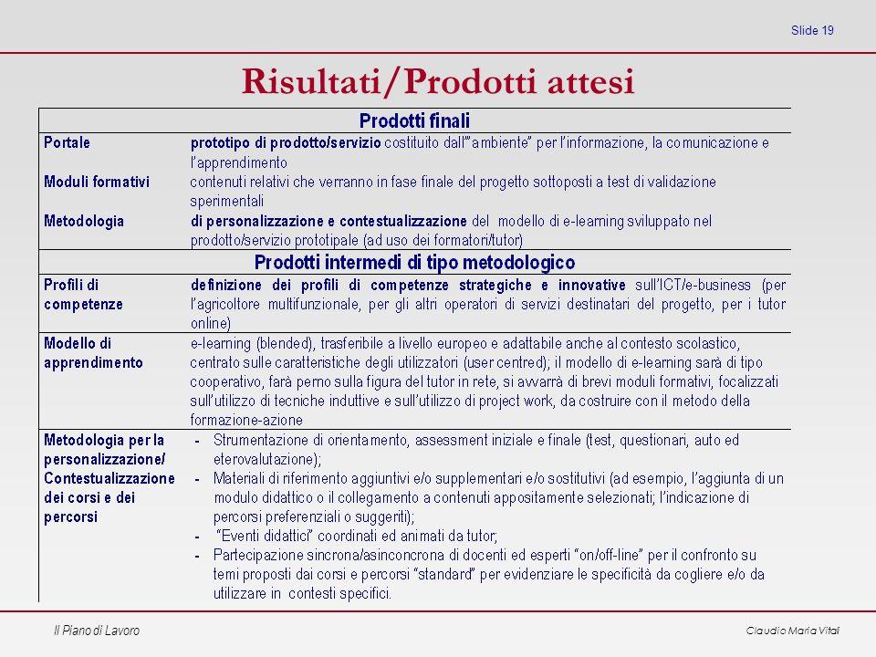 Risultati/Prodotti attesi