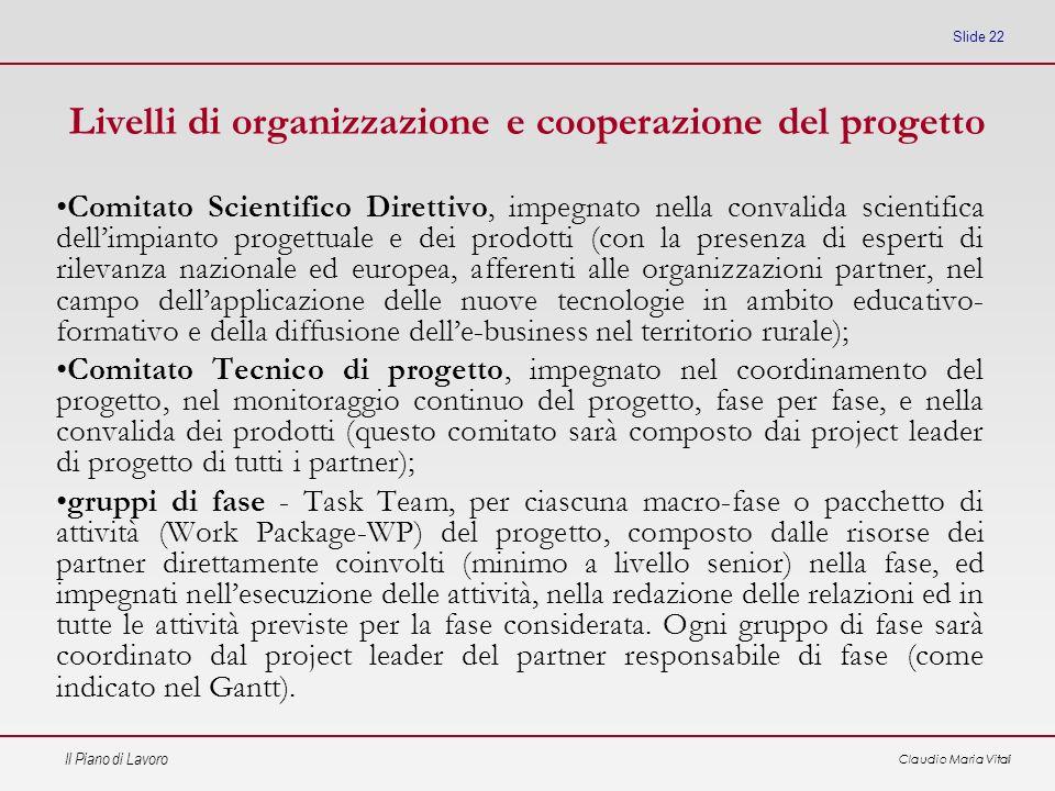 Livelli di organizzazione e cooperazione del progetto