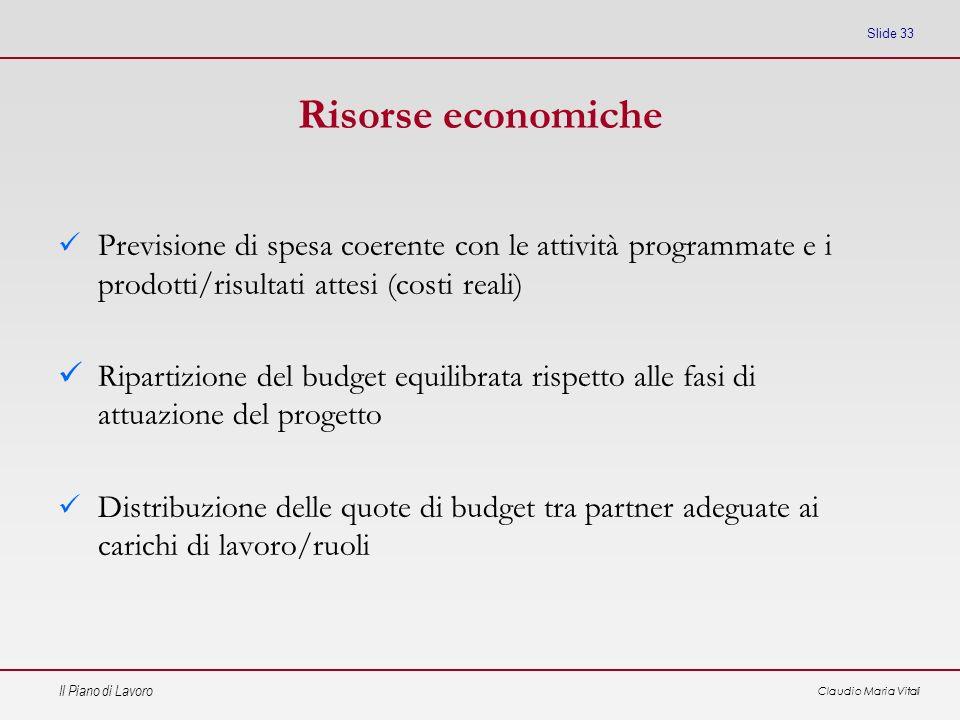Risorse economiche Previsione di spesa coerente con le attività programmate e i prodotti/risultati attesi (costi reali)