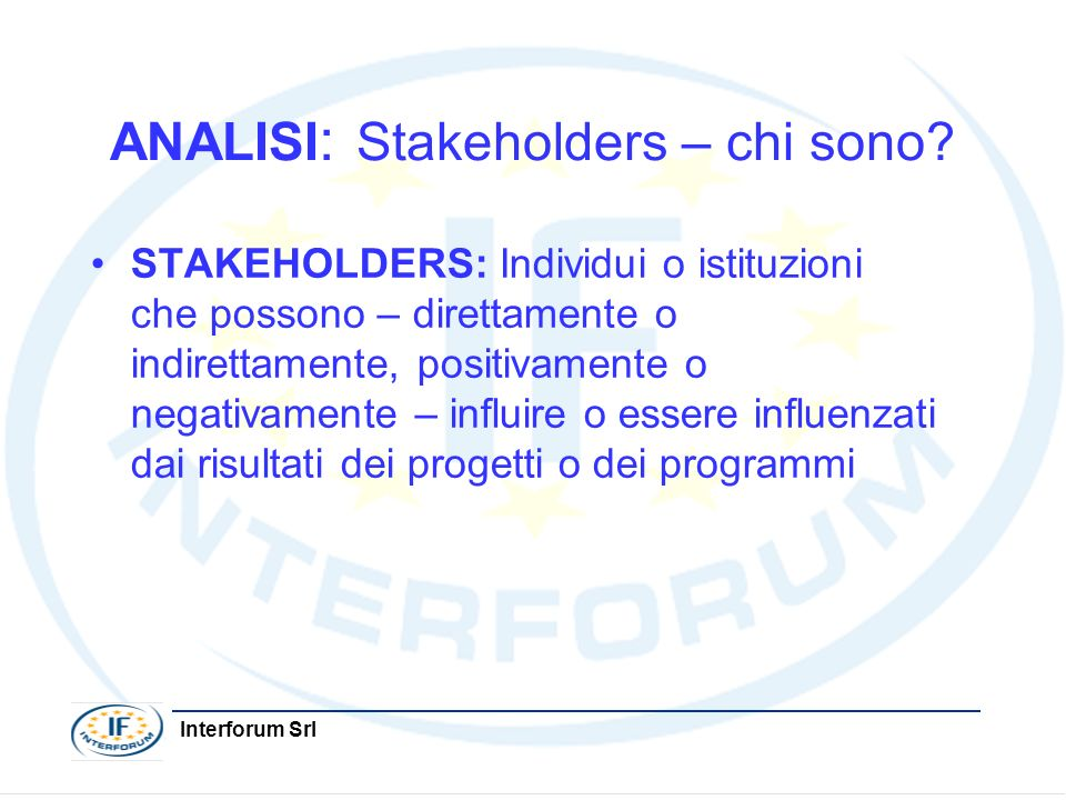 ANALISI: Stakeholders – chi sono