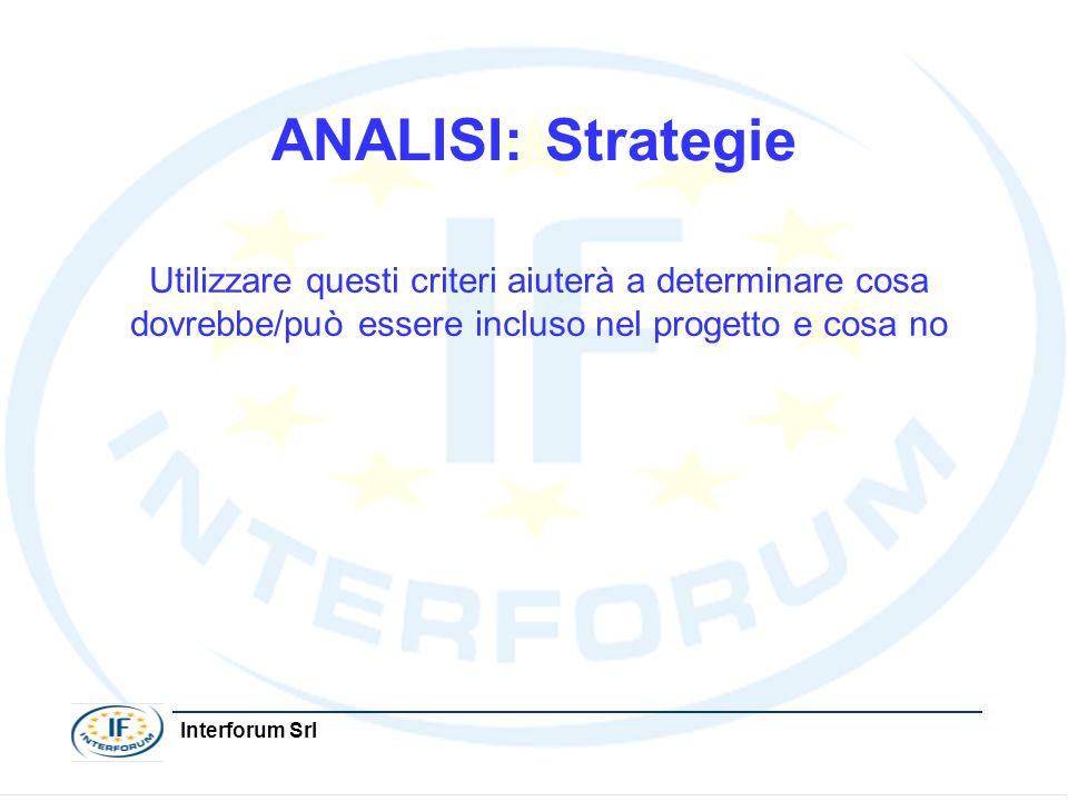 ANALISI: Strategie Utilizzare questi criteri aiuterà a determinare cosa dovrebbe/può essere incluso nel progetto e cosa no.