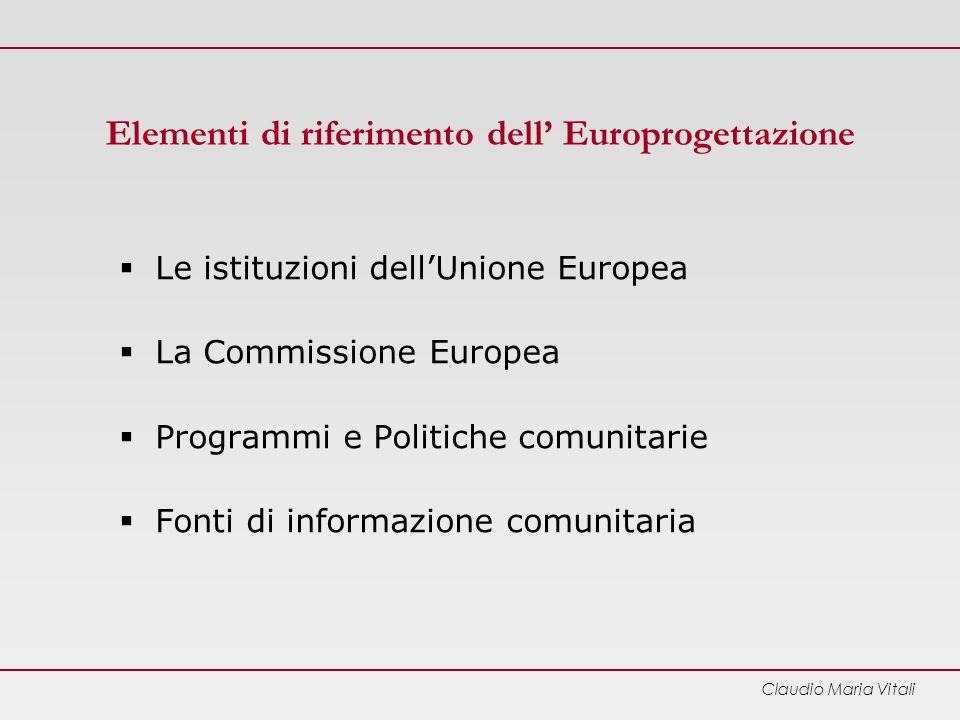 Elementi di riferimento dell' Europrogettazione