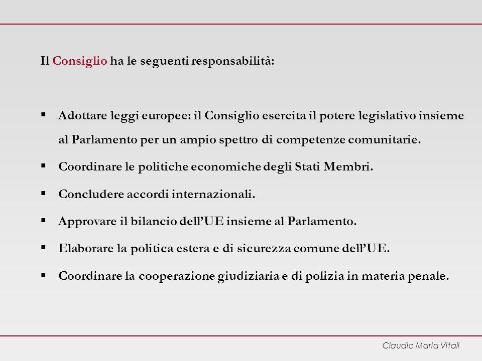 Il Consiglio ha le seguenti responsabilità: