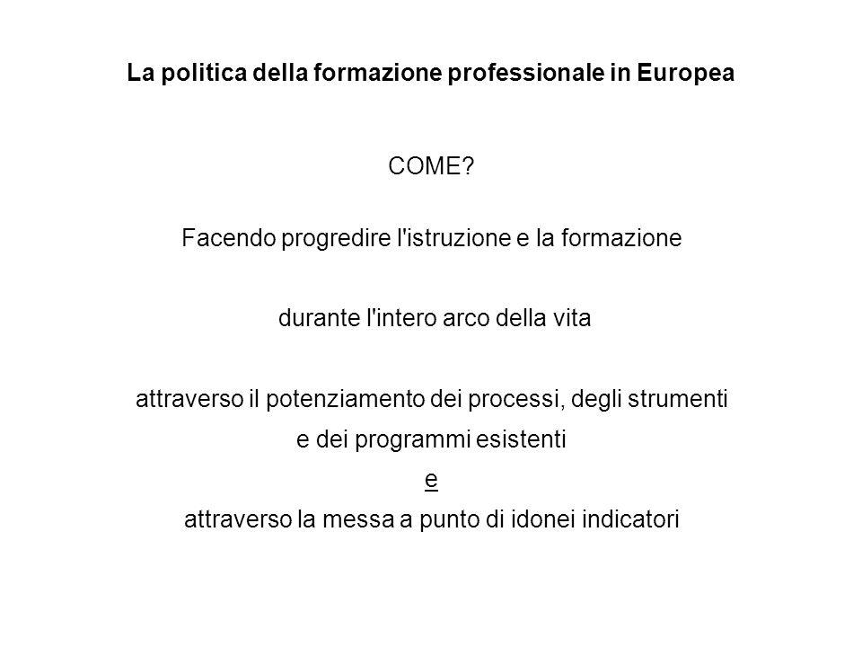 La politica della formazione professionale in Europea