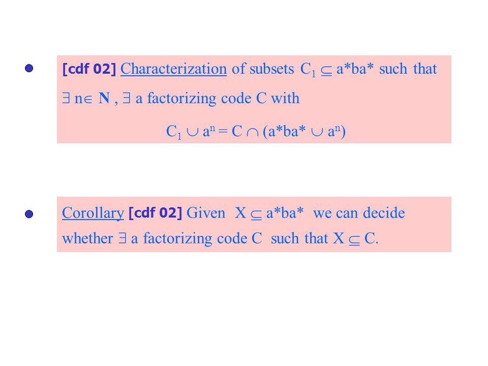  n N ,  a factorizing code C with C1  an = C  (a*ba*  an)