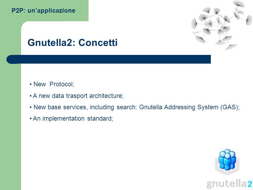 Gnutella2: Concetti P2P: un'applicazione New Protocol;