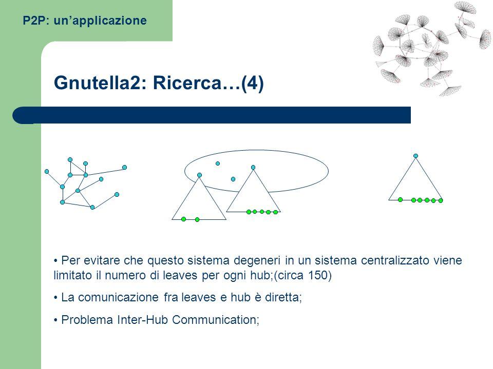 Gnutella2: Ricerca…(4) P2P: un'applicazione