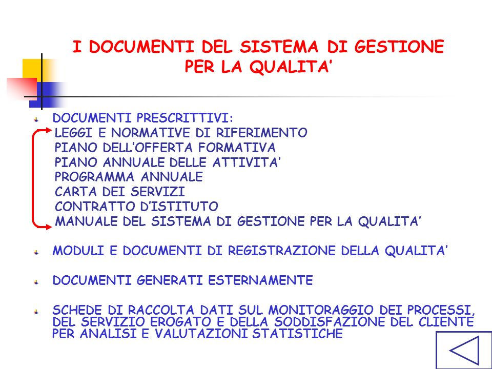 I DOCUMENTI DEL SISTEMA DI GESTIONE PER LA QUALITA'