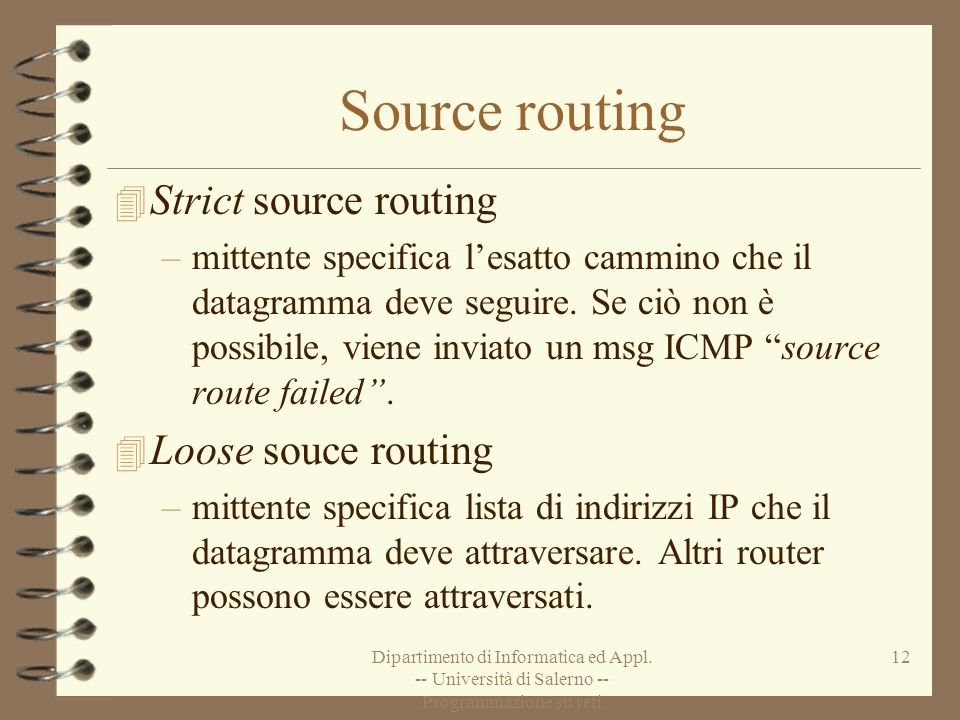 Source routing Strict source routing Loose souce routing
