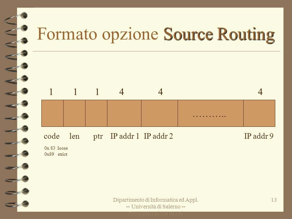 Formato opzione Source Routing