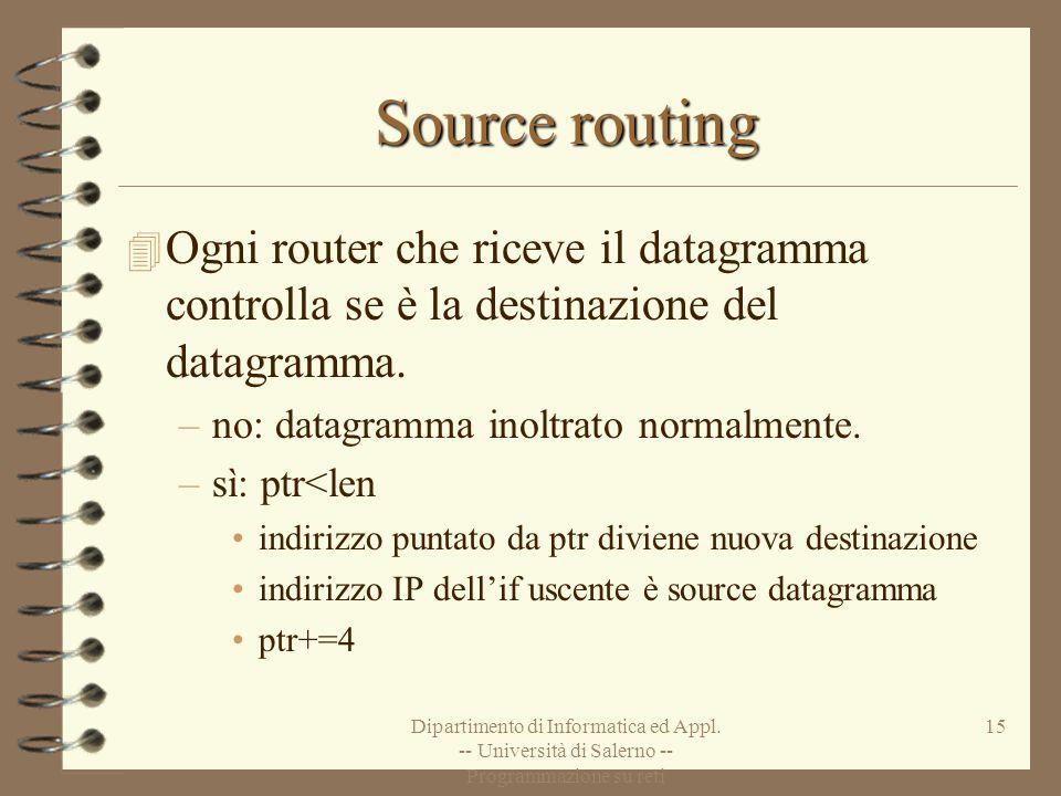 Source routing Ogni router che riceve il datagramma controlla se è la destinazione del datagramma. no: datagramma inoltrato normalmente.