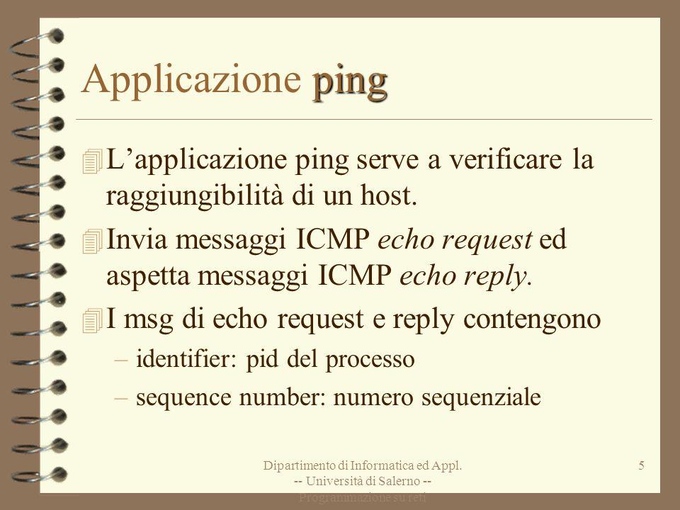 Applicazione ping L'applicazione ping serve a verificare la raggiungibilità di un host.
