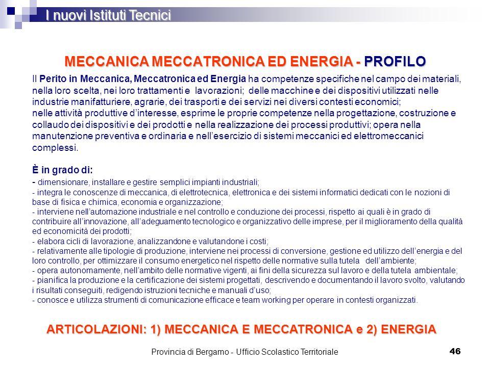 MECCANICA MECCATRONICA ED ENERGIA - PROFILO