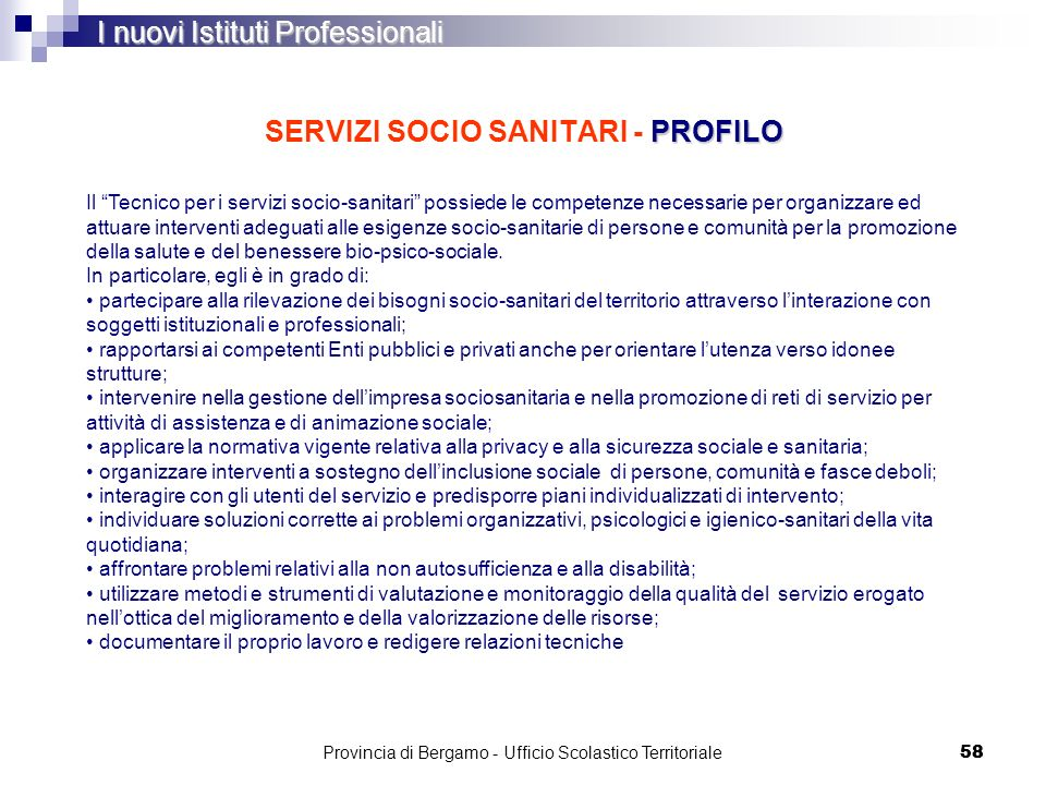 SERVIZI SOCIO SANITARI - PROFILO