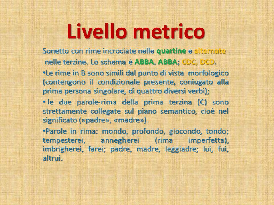 Livello metrico Sonetto con rime incrociate nelle quartine e alternate