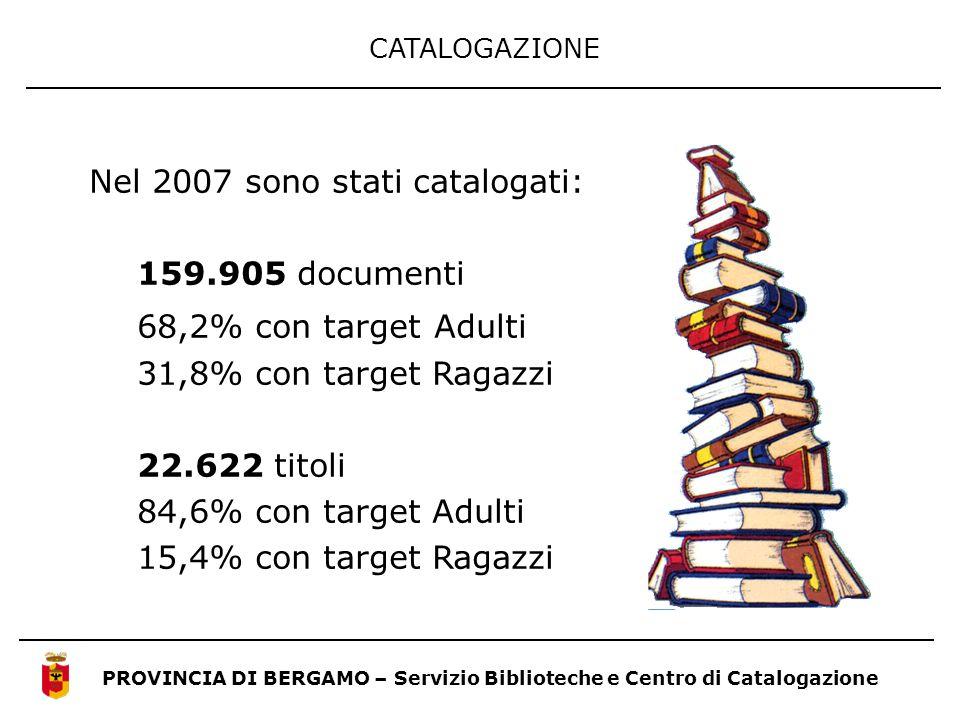 Nel 2007 sono stati catalogati: 159.905 documenti