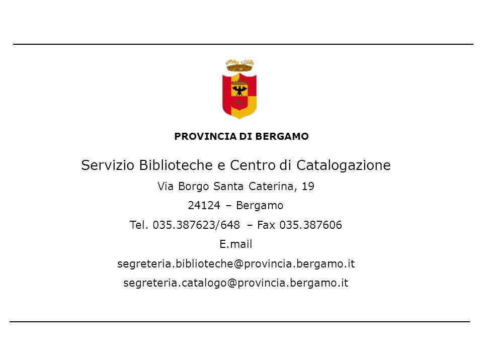 Servizio Biblioteche e Centro di Catalogazione