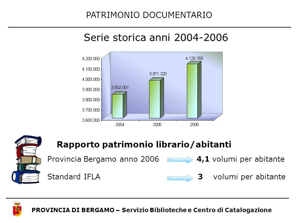 Serie storica anni 2004-2006 PATRIMONIO DOCUMENTARIO