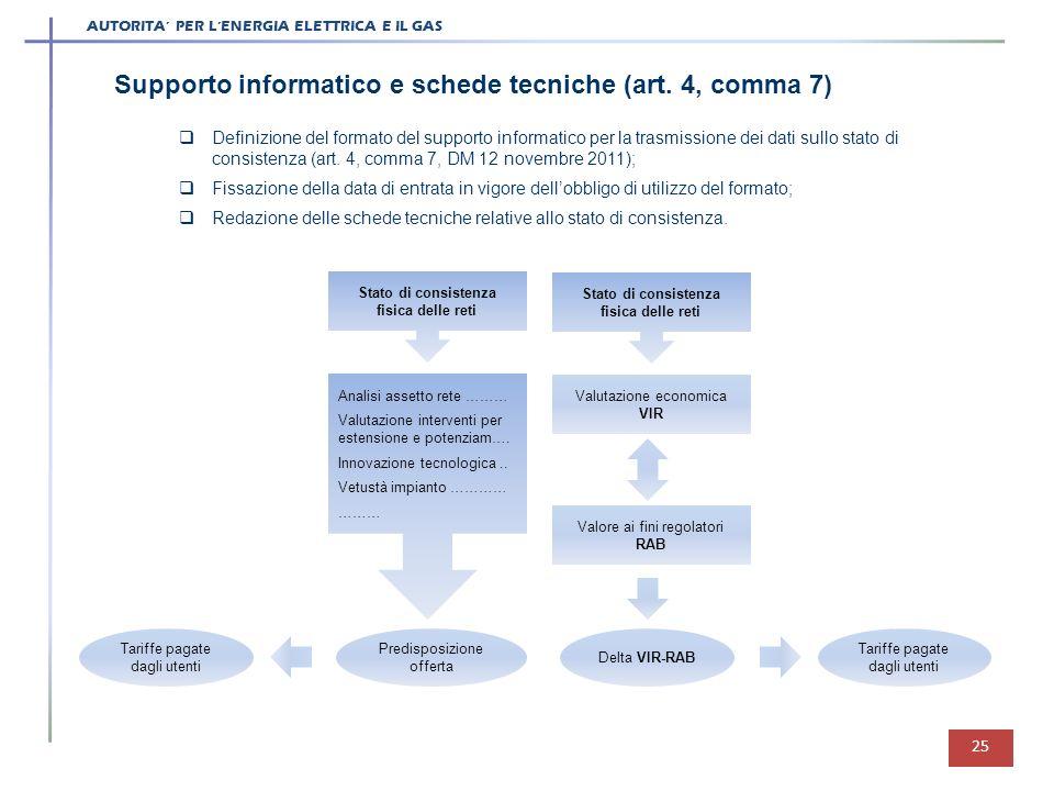 Supporto informatico e schede tecniche (art. 4, comma 7)