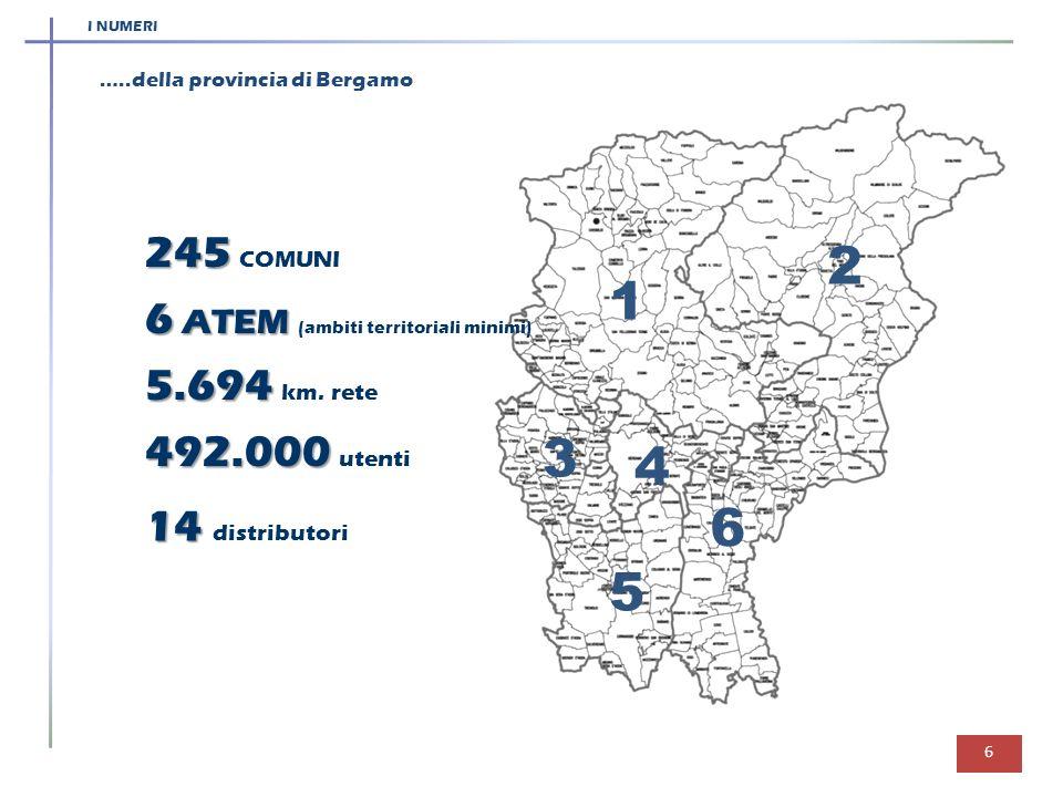2 1 3 4 6 5 245 COMUNI 6 ATEM (ambiti territoriali minimi)
