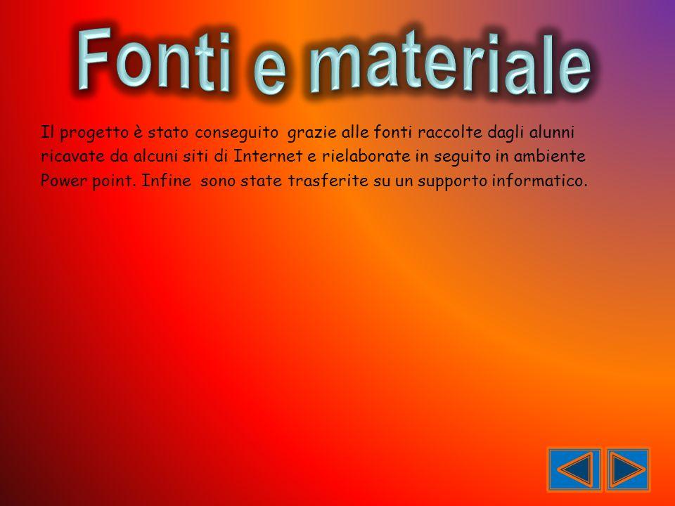 Fonti e materiale