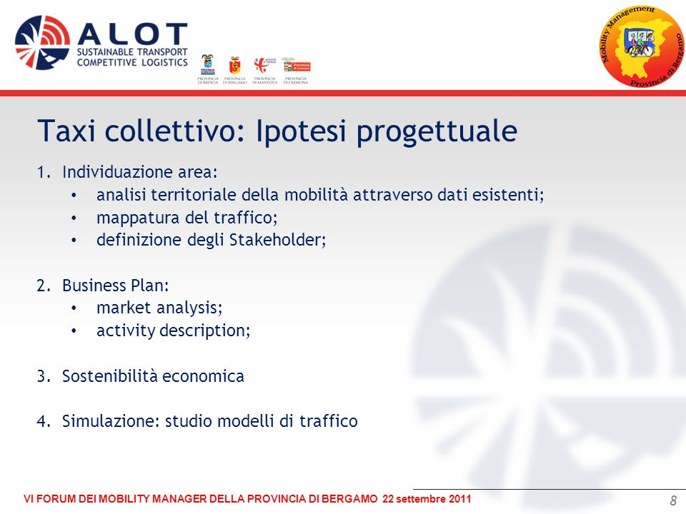 Taxi collettivo: Ipotesi progettuale