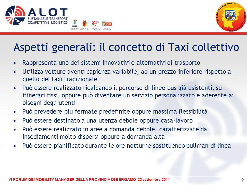 Aspetti generali: il concetto di Taxi collettivo