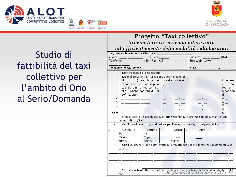 Studio di fattibilità del taxi collettivo per l'ambito di Orio al Serio/Domanda