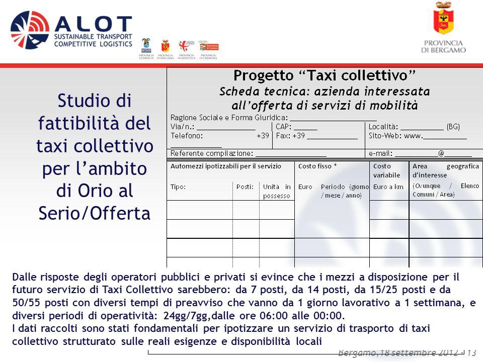 Studio di fattibilità del taxi collettivo per l'ambito di Orio al Serio/Offerta