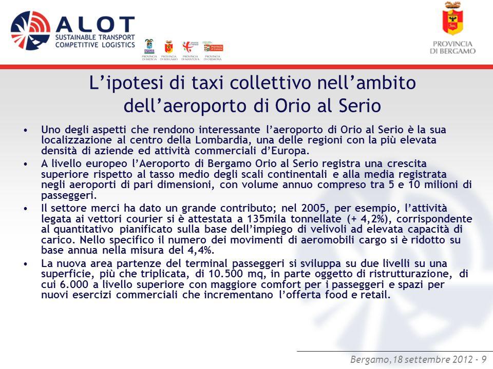 L'ipotesi di taxi collettivo nell'ambito dell'aeroporto di Orio al Serio