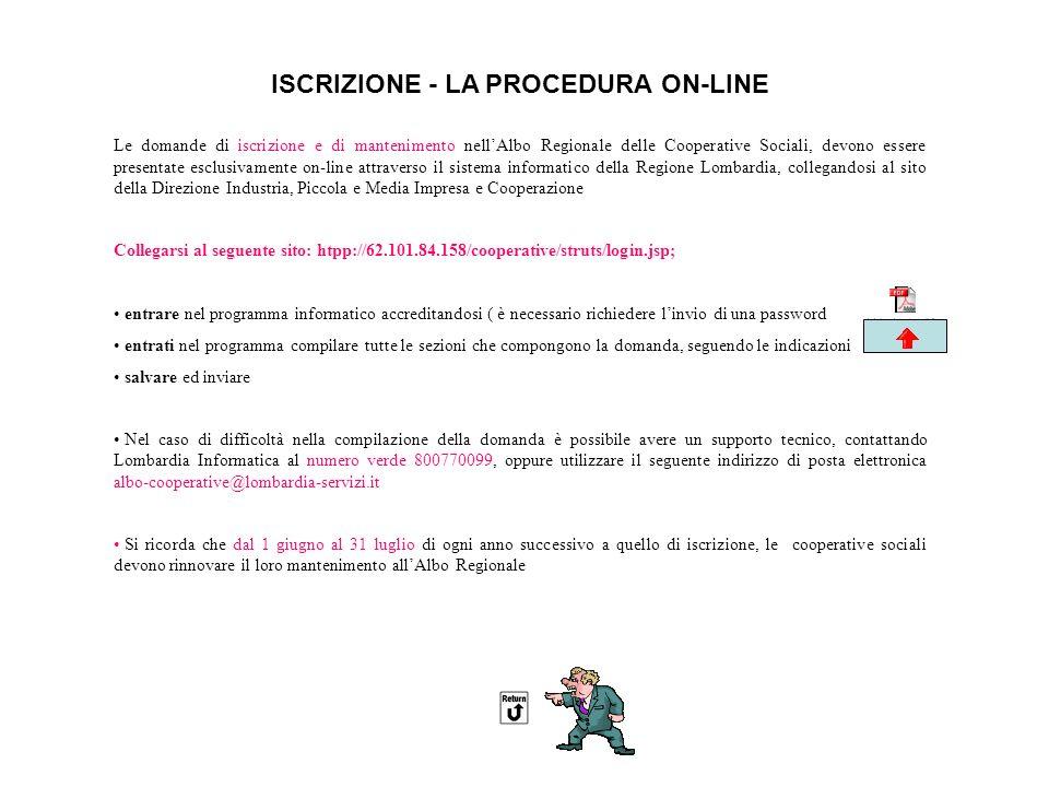 ISCRIZIONE - LA PROCEDURA ON-LINE