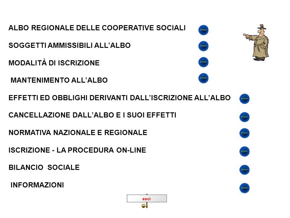ALBO REGIONALE DELLE COOPERATIVE SOCIALI