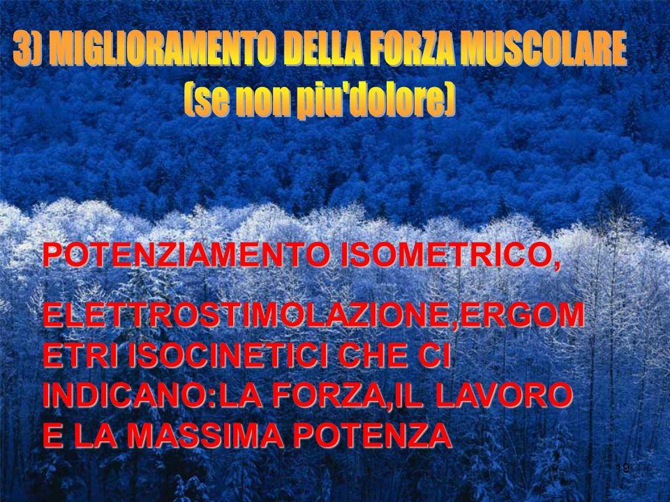 3) MIGLIORAMENTO DELLA FORZA MUSCOLARE