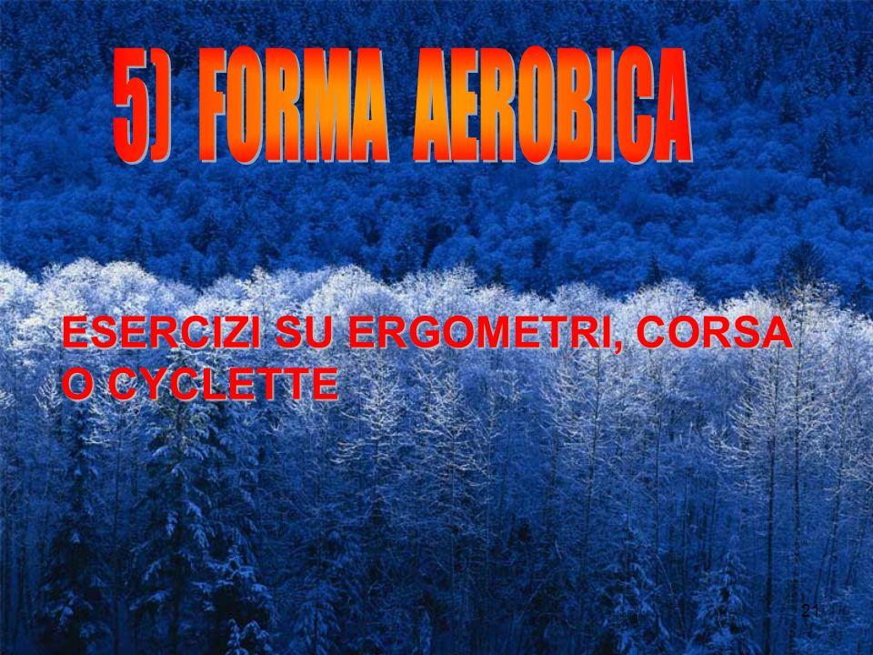 5) FORMA AEROBICA ESERCIZI SU ERGOMETRI, CORSA O CYCLETTE