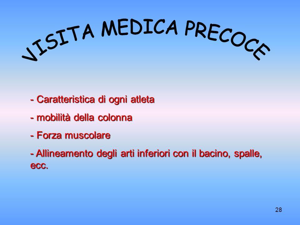 VISITA MEDICA PRECOCE Caratteristica di ogni atleta