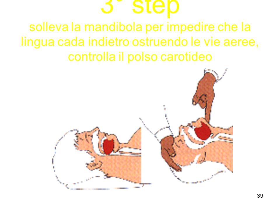 3° step solleva la mandibola per impedire che la lingua cada indietro ostruendo le vie aeree, controlla il polso carotideo