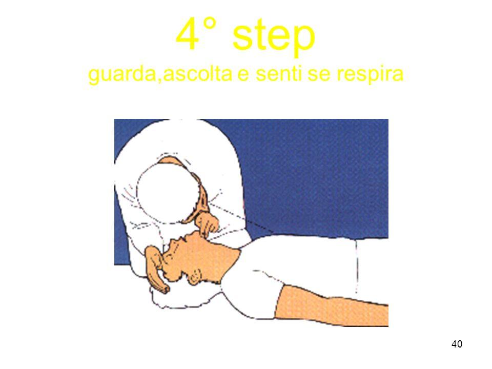 4° step guarda,ascolta e senti se respira