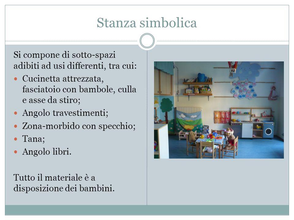 Stanza simbolica Si compone di sotto-spazi adibiti ad usi differenti, tra cui: Cucinetta attrezzata, fasciatoio con bambole, culla e asse da stiro;