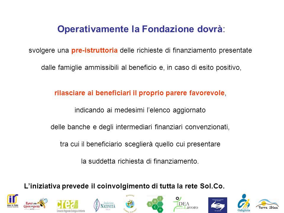 Operativamente la Fondazione dovrà: