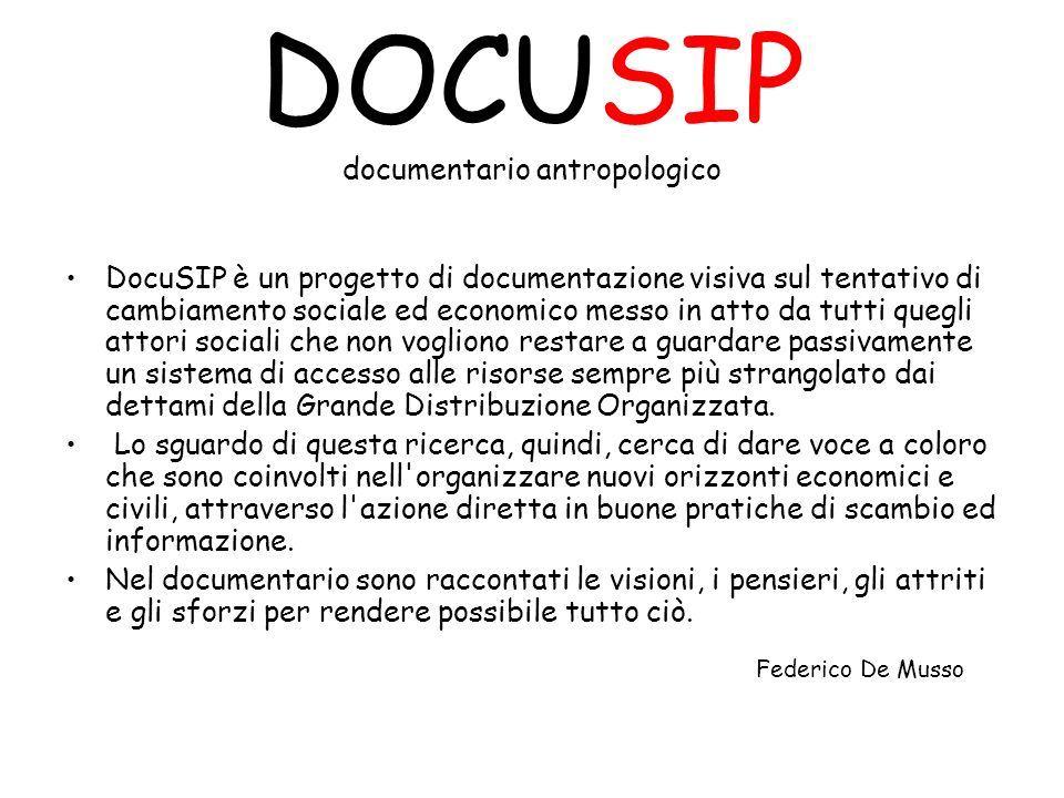 DOCUSIP documentario antropologico