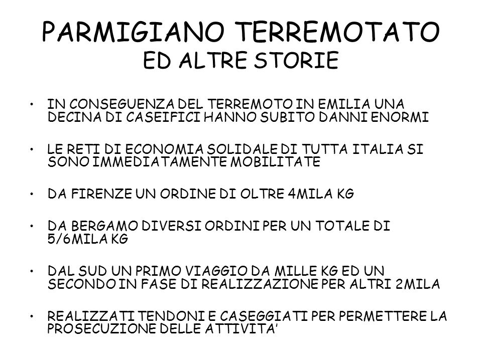 PARMIGIANO TERREMOTATO ED ALTRE STORIE