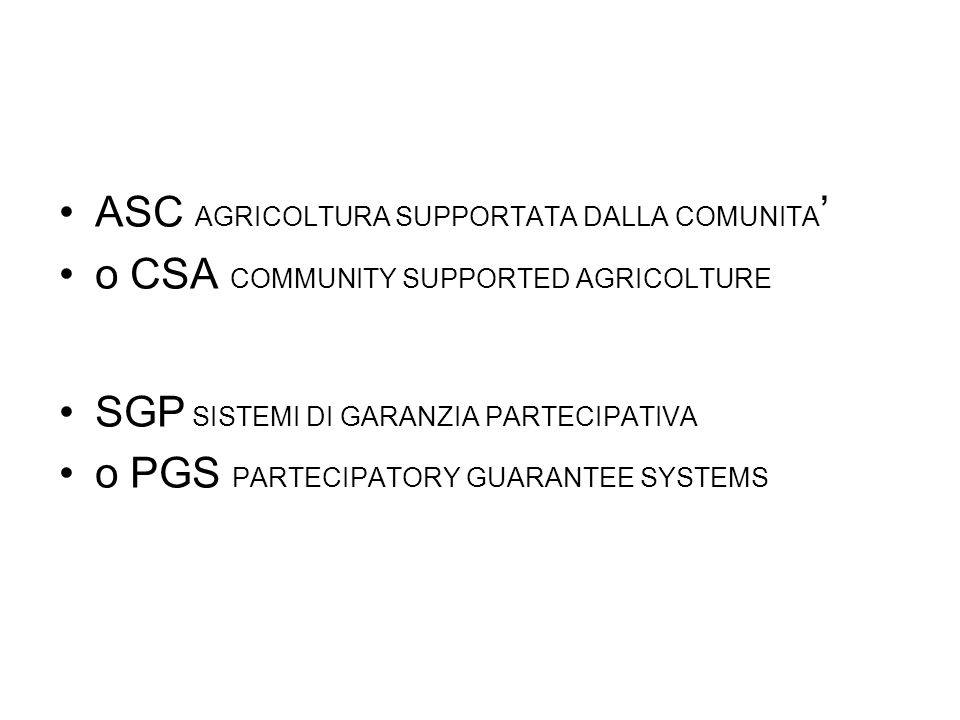 ASC AGRICOLTURA SUPPORTATA DALLA COMUNITA'