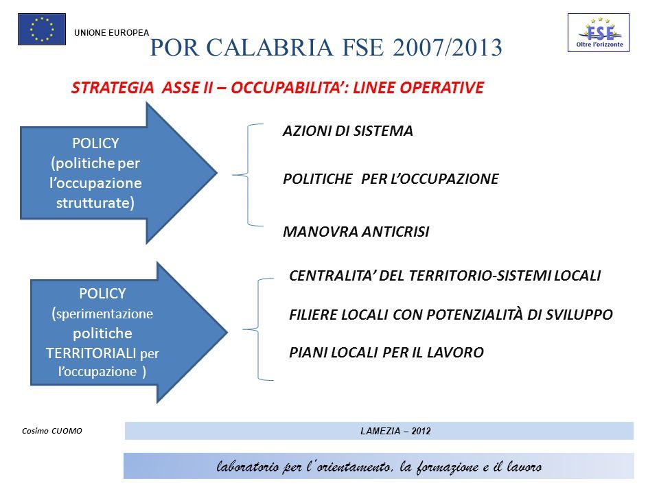POR CALABRIA FSE 2007/2013 UNIONE EUROPEA. STRATEGIA ASSE II – OCCUPABILITA': LINEE OPERATIVE. AZIONI DI SISTEMA.