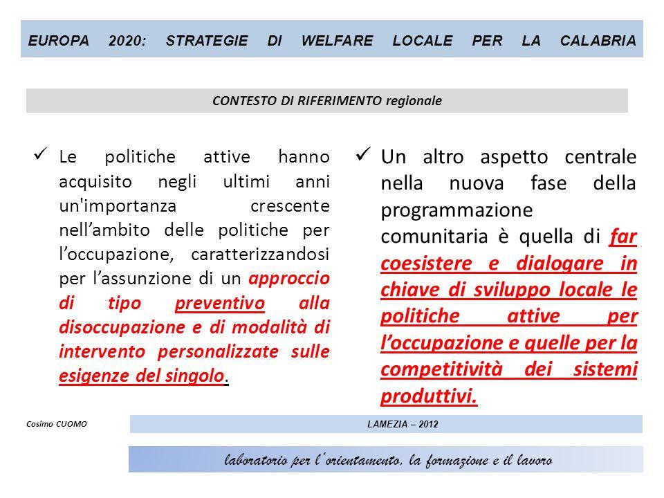 EUROPA 2020: STRATEGIE DI WELFARE LOCALE PER LA CALABRIA