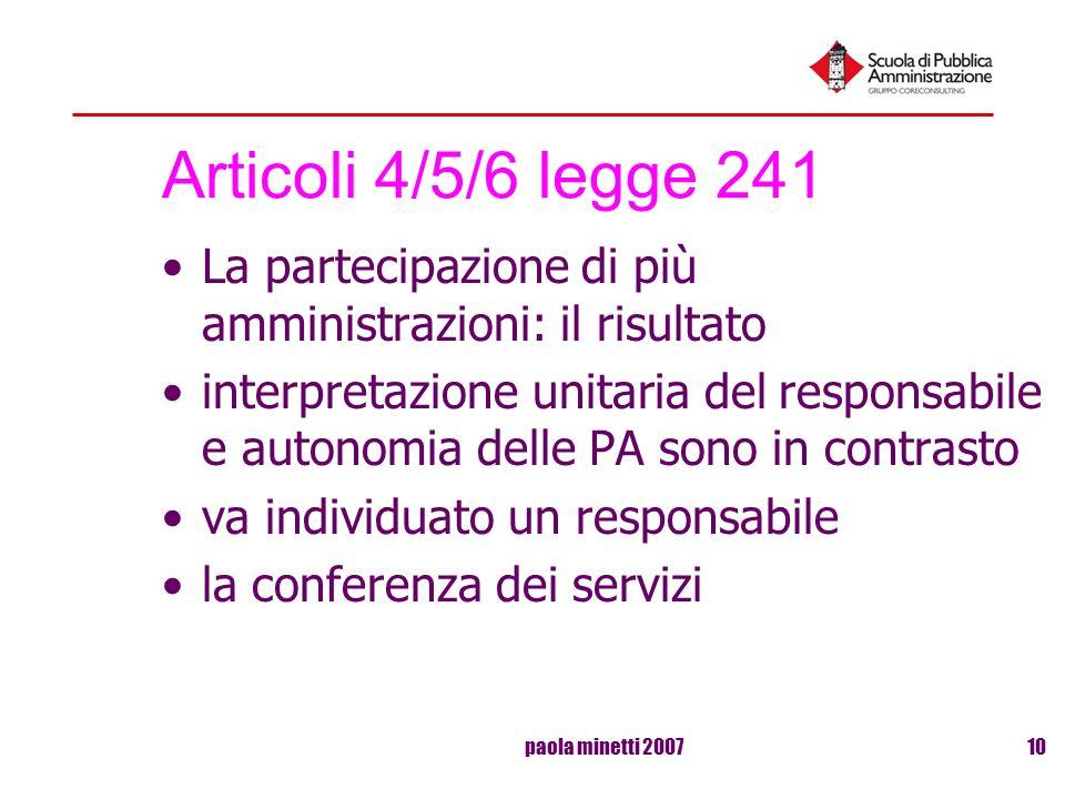 Articoli 4/5/6 legge 241 La partecipazione di più amministrazioni: il risultato.